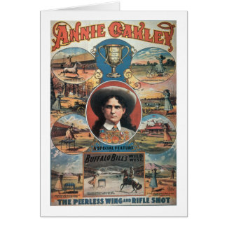 Poster advertising Annie Oakley featuring in Buffa Cards