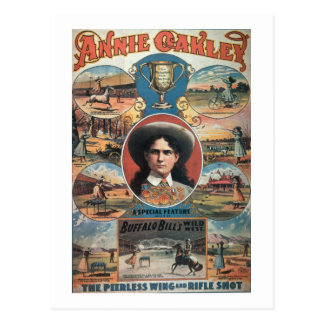 Poster advertising Annie Oakley featuring in Buffa Postcards