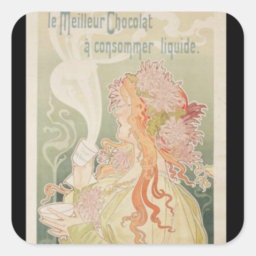 Poster advertising Cacao Van Houten Belgium Square Stickers