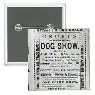 Poster advertising Cruft's Dog Show Pinback Button