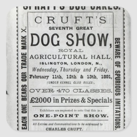 Poster advertising Cruft's Dog Show Square Sticker