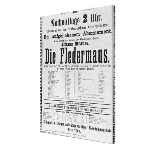Poster advertising Die Fledermaus by Johann Canvas Print