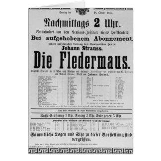 Poster advertising Die Fledermaus by Johann Greeting Cards