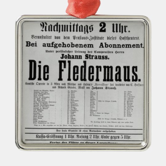 Poster advertising Die Fledermaus by Johann Metal Ornament