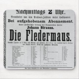 Poster advertising Die Fledermaus by Johann Mouse Pad