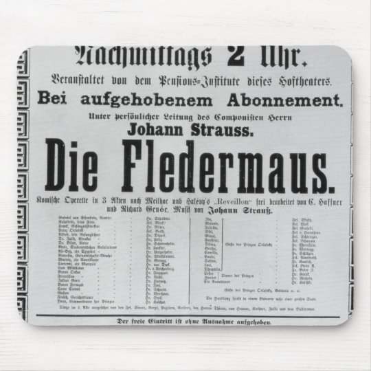 Poster advertising Die Fledermaus by Johann Mouse Pad