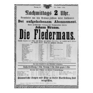 Poster advertising Die Fledermaus by Johann Postcard