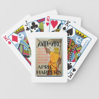 Poster advertising 'Joan of Arc' in April Harper's Bicycle Playing Cards