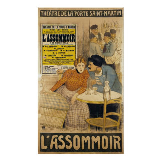 Poster advertising L'Assommoir by M.M.W.