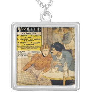 Poster advertising L'Assommoir by M.M.W. Silver Plated Necklace