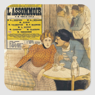 Poster advertising L'Assommoir by M.M.W. Square Sticker