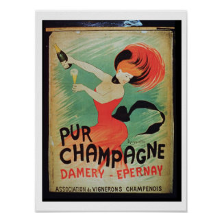 Poster advertising 'Pur Champagne', from Damery, E