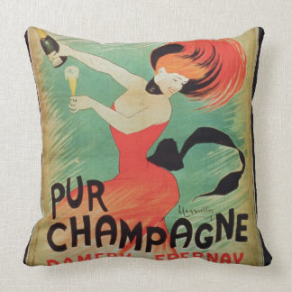 Poster advertising 'Pur Champagne', from Damery, E Throw Pillow