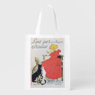 Poster advertising Pure Sterilised Milk Grocery Bags