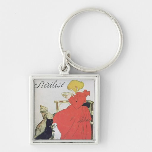 Poster advertising Pure Sterilised Milk Silver-Colored Square Keychain