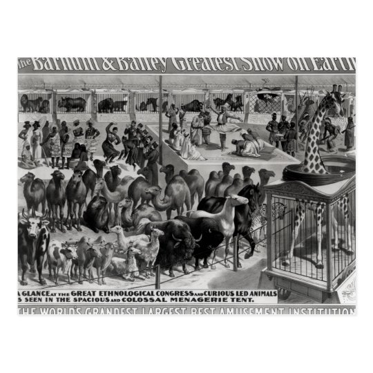 Poster advertising, 'The Barnum and Bailey Postcard