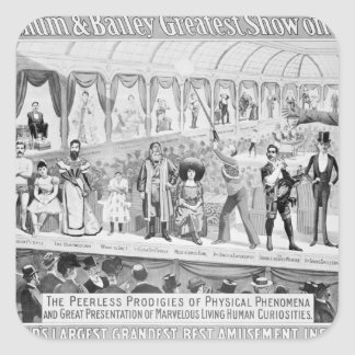 Poster advertising, 'The Barnum and Bailey Square Sticker