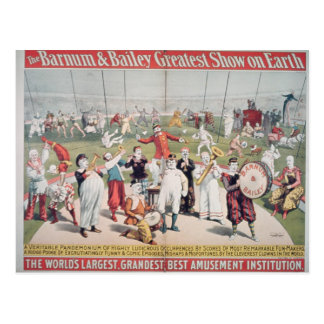 Poster advertising the Barnum Postcards