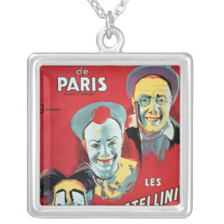 Poster advertising the 'Cirque d'Hiver de Paris' Silver Plated Necklace