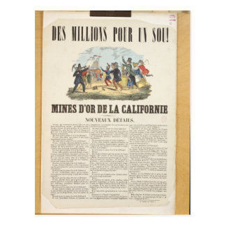 Poster advertising the gold mines in California Postcard