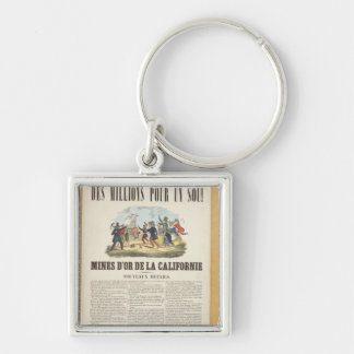 Poster advertising the gold mines in California Silver-Colored Square Keychain