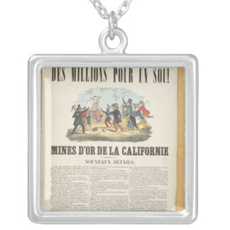 Poster advertising the gold mines in California Silver Plated Necklace