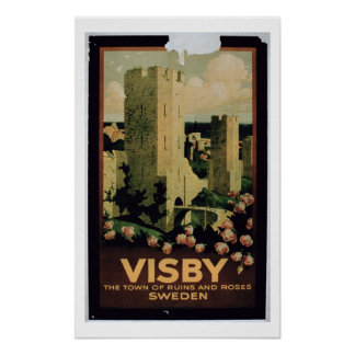 Poster advertising the town of Visby, Sweden (colo