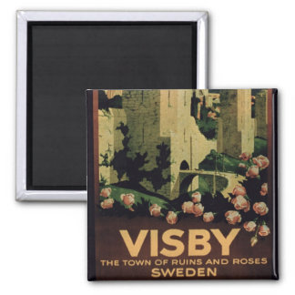 Poster advertising the town of Visby Sweden colo Magnet