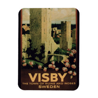 Poster advertising the town of Visby Sweden colo Rectangular Magnets