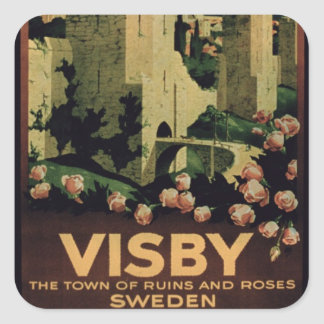 Poster advertising the town of Visby, Sweden (colo Square Sticker