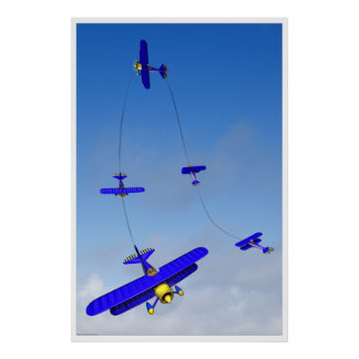 Poster aeroacrobacia de la maniobra del Hammerhead