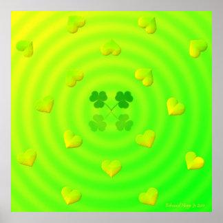 Poster afortunado de los corazones