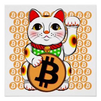 Poster afortunado del gato de Bitcoin Maneki Neko