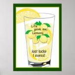 Poster afortunado divertido 20 x 28 de la limonada