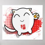 poster afortunado japonés lindo del gato