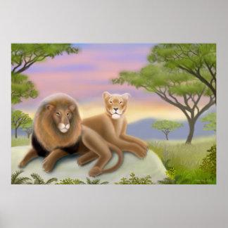 Poster africano de los leones póster
