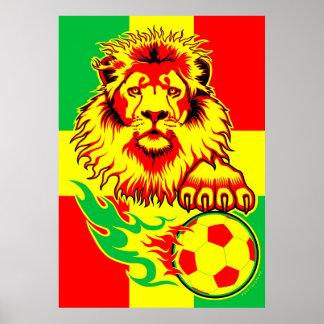 Poster africano del león del fútbol