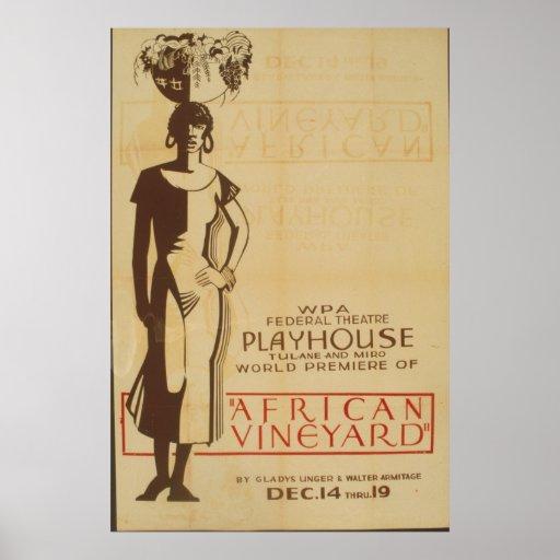 Poster africano del principio del viñedo