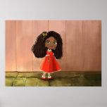 poster africano lindo del chica del dibujo animado