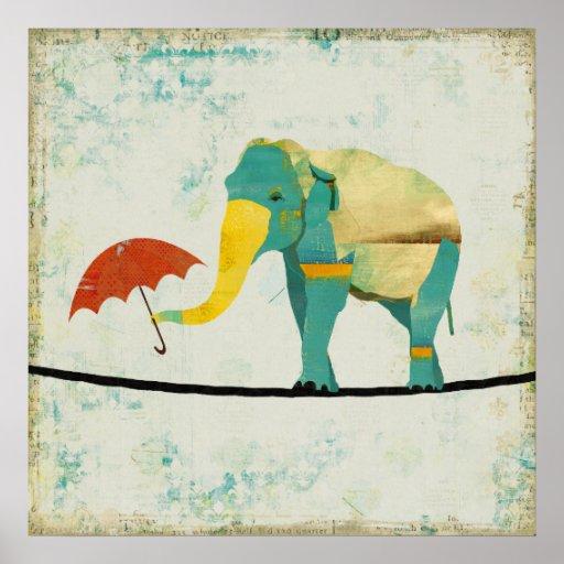 Poster agraciado de oro del arte del elefante