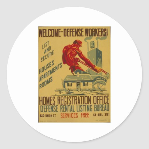 Poster agradable 1941 del anuncio de los pegatina redonda