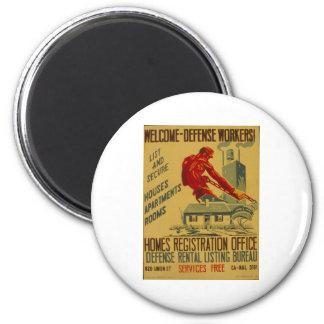 Poster agradable 1941 del anuncio de los trabajado imán redondo 5 cm