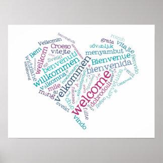 Poster agradable del corazón (muchas idiomas)
