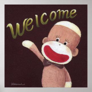 Poster agradable del mono del calcetín