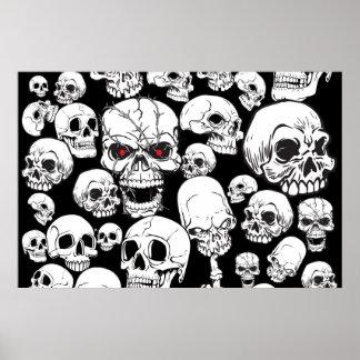 Poster agrupado blanco de los cráneos