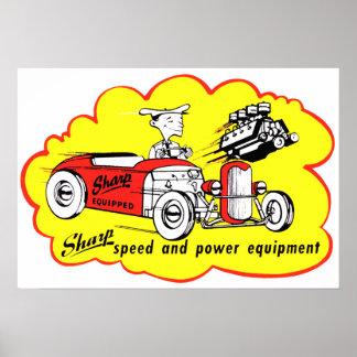 Poster agudo del logotipo del coche de carreras de