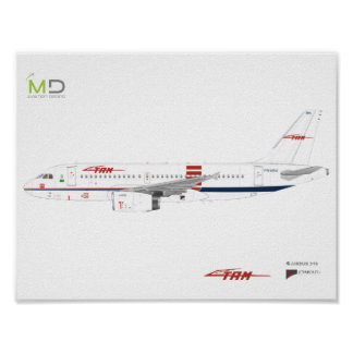Poster - Airbus A319 TAM Vintage