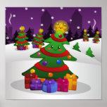 Poster alegre del árbol de navidad