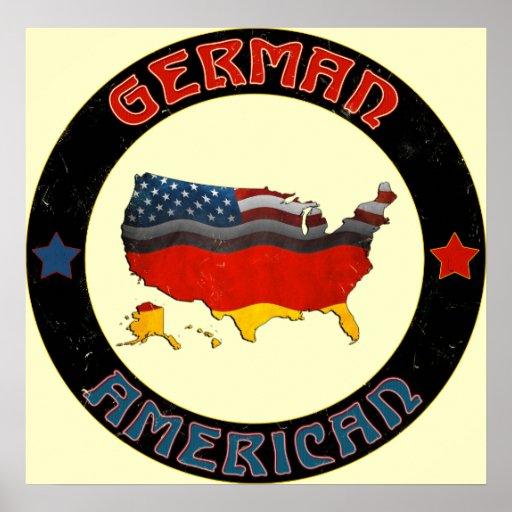Poster alemán de las banderas americanas