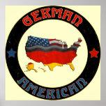Poster alemán de las banderas americanas póster